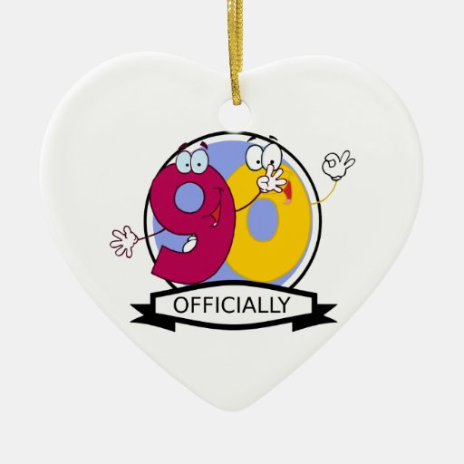 Officially 90 Birthday Banner Ceramic Ornament