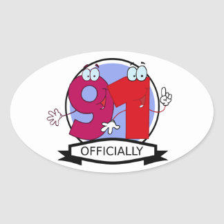 Officially 91 Birthday Banner Oval Sticker
