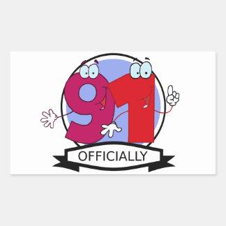 Officially 91 Birthday Banner Rectangular Sticker