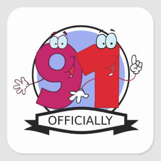 Officially 91 Birthday Banner Square Sticker