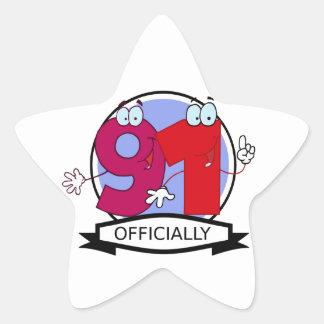 Officially 91 Birthday Banner Star Sticker