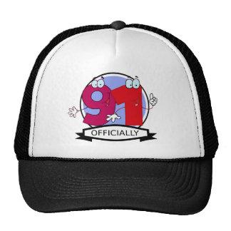 Officially 91 Birthday Banner Trucker Hat