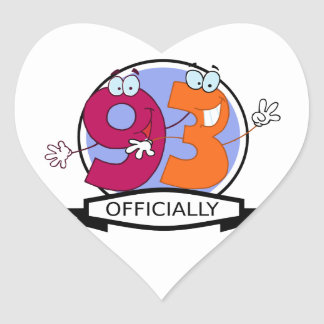 Officially 93 Birthday Banner Heart Sticker