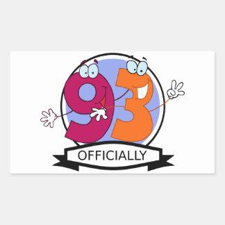 Officially 93 Birthday Banner Rectangular Sticker