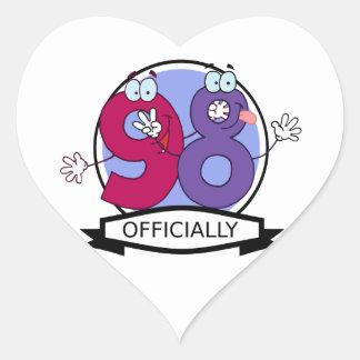 Officially 98 Birthday Banner. Heart Sticker