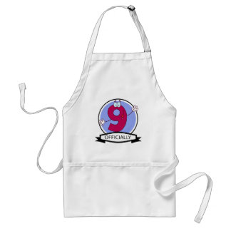 Officially 9 Birthday Banner Adult Apron