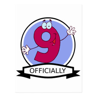 Officially 9 Birthday Banner Postcard
