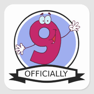Officially 9 Birthday Banner Square Sticker