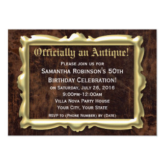 Officially Antique Funny 50th Birthday Party Card