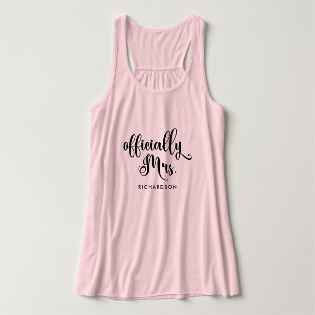 Officially Mrs | New Bride Personalized Tank Top