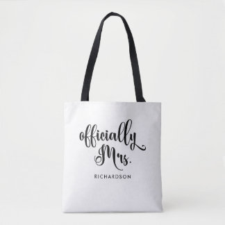 Officially Mrs | New Bride Personalized Tote Bag