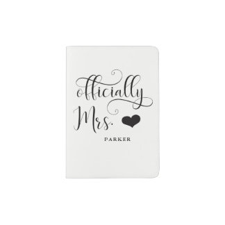 Officially Mrs | New Bride Personalized with Heart Passport Holder