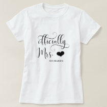 Officially Mrs | New Bride Personalized with Heart T-Shirt