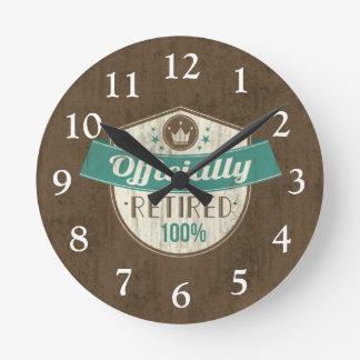 Officially Retired, 100 Percent Vintage Retirement Round Wallclock