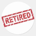 officially retired round sticker