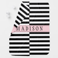 Offset Black and White Striped Baby Blanket