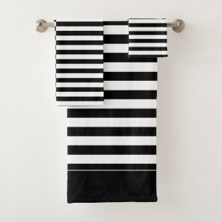 Offset Black and White Striped Bath Towel Set