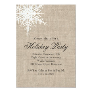 Offset Burlap Snowflake Holiday Party Invitation
