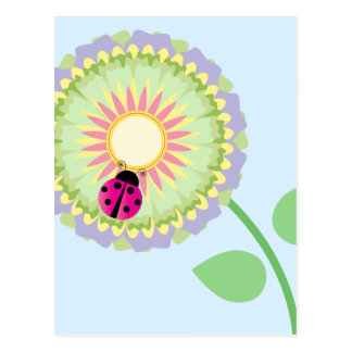 Offset Flower and Ladybug Postcard