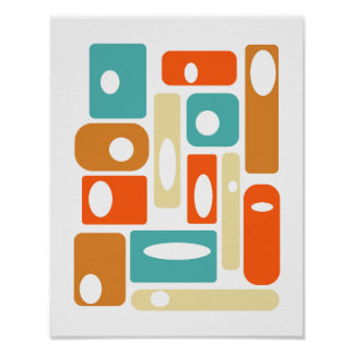 Offset Mid Century Modern Styled Poster