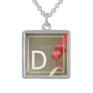 Offset Monogram Trust Your Wings Dragonfly Square Pendant Necklace