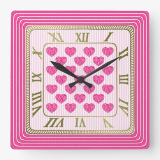 Offset Rows of Tile Hearts Girly Fuchsia Pattern Square Wall Clock