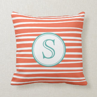 Offset Stripes Monogram Pillow
