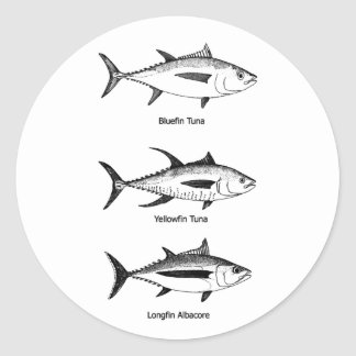 Offshore Fishing - Tuna Logo Classic Round Sticker