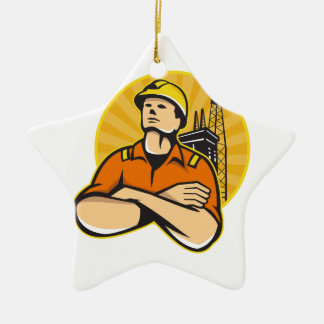 Offshore Oil and Gas Worker Rig Retro Ceramic Ornament