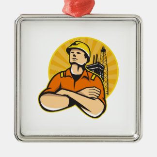Offshore Oil and Gas Worker Rig Retro Metal Ornament