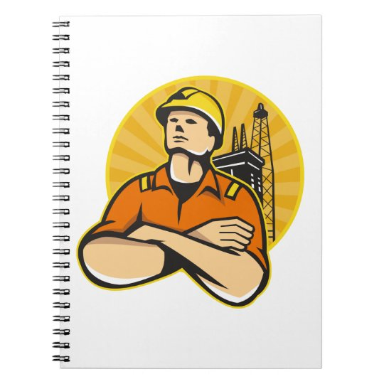 Offshore Oil and Gas Worker Rig Retro Notebook