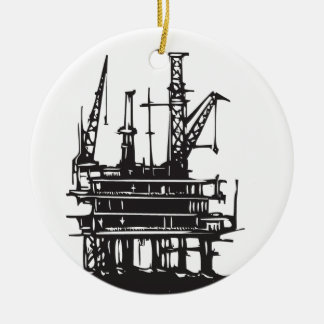 Offshore Oil Rig Double-Sided Ceramic Round Christmas Ornament