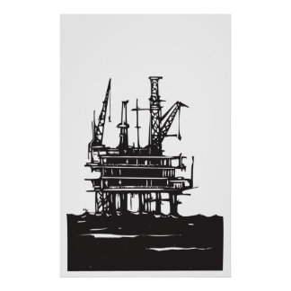 Offshore Oil Rig Poster