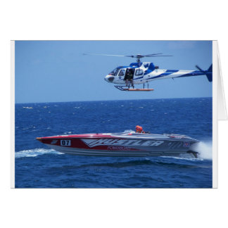 Offshore Powerboat And Helicopter Greeting Card