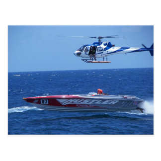 Offshore Powerboat And Helicopter Postcard