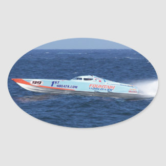 Offshore Powerboat Racer Oval Sticker