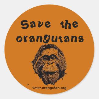 OFI - orangutanes y selva tropical del ahorro Pegatina Redonda