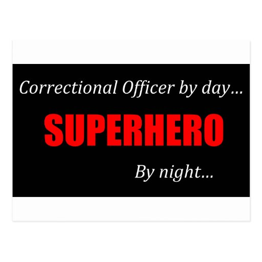 Oficial correccional del super héroe postales
