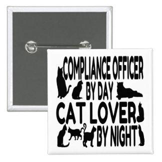 Oficial de la conformidad del amante del gato pin cuadrado