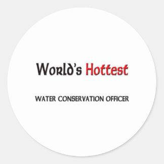 Oficial de la protección de la agua más caliente d pegatinas redondas