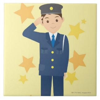 Oficial de policía azulejo cuadrado grande