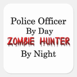 Oficial de policía/cazador del zombi pegatina cuadrada