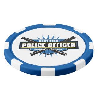 Oficial de policía certificado fichas de póquer