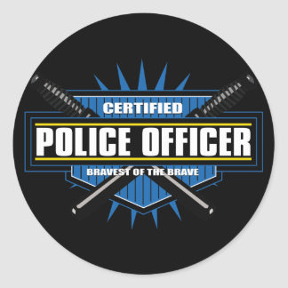 Oficial de policía certificado pegatinas redondas