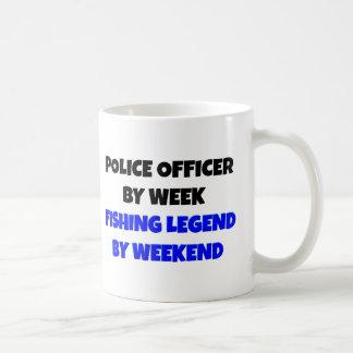 Oficial de policía de la leyenda de la pesca taza básica blanca