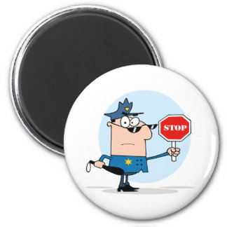 Oficial de policía de tráfico imán redondo 5 cm