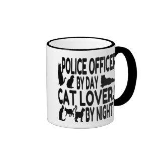 Oficial de policía del amante del gato taza de dos colores