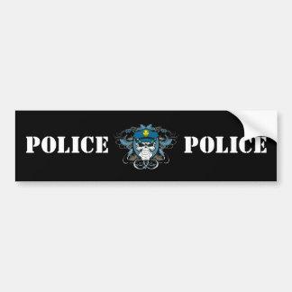 Oficial de policía del cráneo etiqueta de parachoque