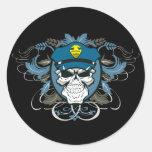 Oficial de policía del cráneo pegatina redonda