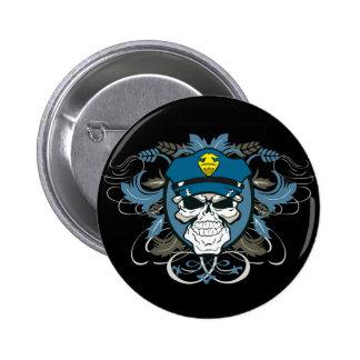 Oficial de policía del cráneo pin redondo 5 cm